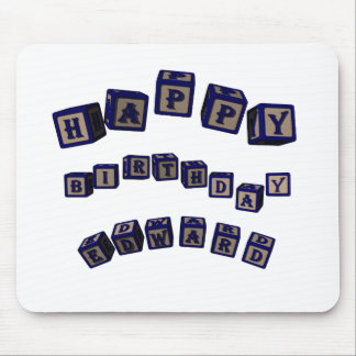 Happy Birthday Edward toy blocks in blue. Mouse Pad