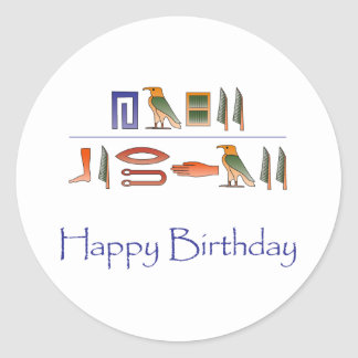 Happy Birthday Egyptian Hieroglyphics Classic Round Sticker
