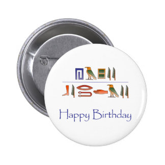 Happy Birthday Egyptian Hieroglyphics Pinback Button