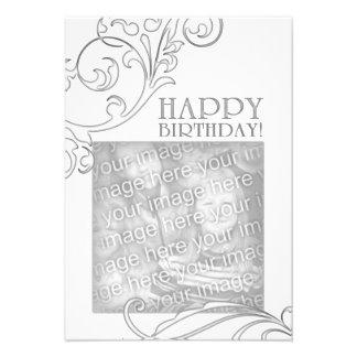 happy birthday (elegant flourish) personalized announcements