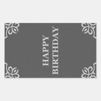 happy birthday (elegantGreys) Rectangular Sticker