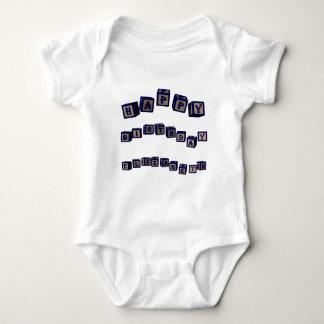 Happy Birthday Elizabeth toy blocks in blue Baby Bodysuit