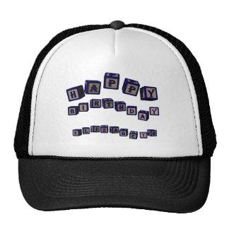 Happy Birthday Elizabeth toy blocks in blue Trucker Hat