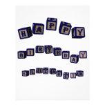 Happy Birthday Elizabeth toy blocks in blue Letterhead Design