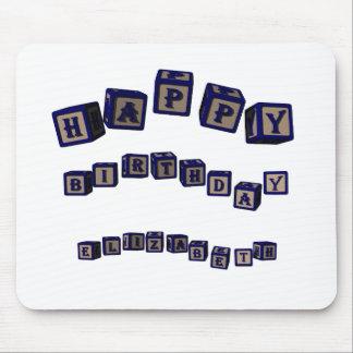 Happy Birthday Elizabeth toy blocks in blue Mouse Pad
