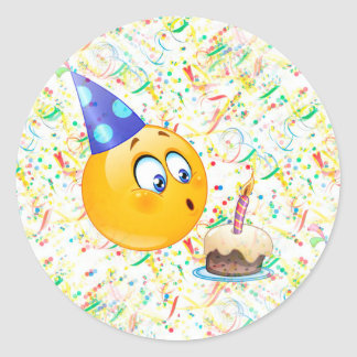 happy birthday emoji classic round sticker