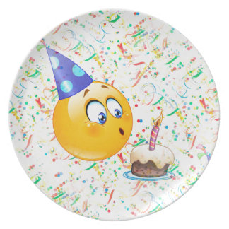 happy birthday emoji plate