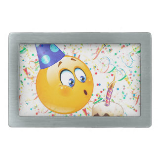 happy birthday emoji rectangular belt buckle