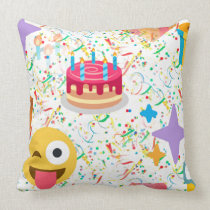 happy birthday emoji throw pillow