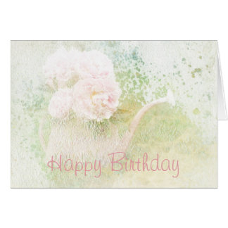 Happy Birthday Faded Textures Peony Bouquet Card
