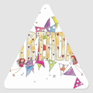 Happy Birthday - Fairies and Bunting Triangle Sticker