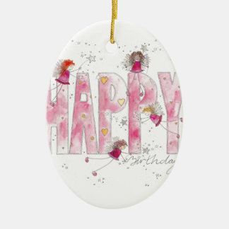 Happy Birthday Fairies Ceramic Ornament