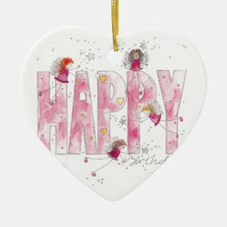 Happy Birthday Fairies Ceramic Ornament