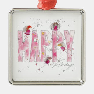 Happy Birthday Fairies Metal Ornament