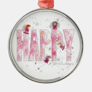 Happy Birthday Fairies Metal Ornament