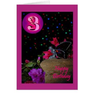 Happy Birthday fairy faerie 3 3rd three third Greeting Card