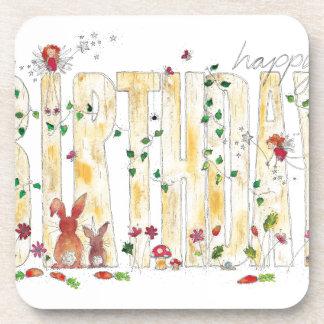 Happy Birthday -Fairy Woodland Beverage Coaster