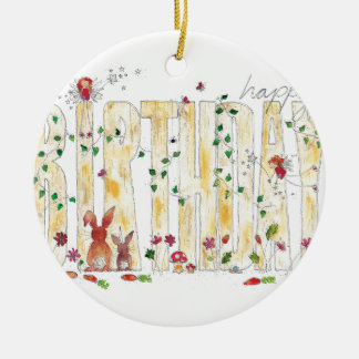 Happy Birthday -Fairy Woodland Ceramic Ornament