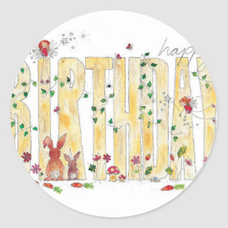 Happy Birthday -Fairy Woodland Classic Round Sticker