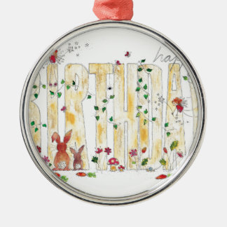 Happy Birthday -Fairy Woodland Metal Ornament
