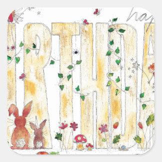 Happy Birthday -Fairy Woodland Square Sticker