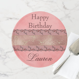 Happy birthday Fancy Pink Lace Cake Stand