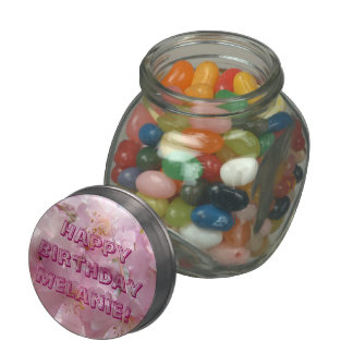 Happy Birthday Favors add Name Jelly Belly candy Jelly Belly Candy Jar