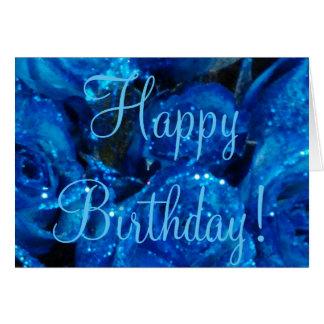 Hy Birthday Festive Flowers Card Blue Roses