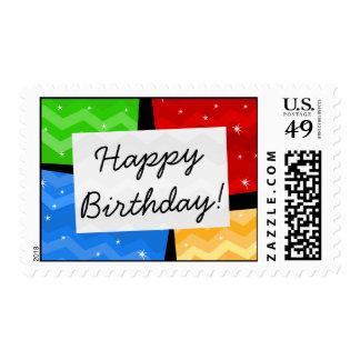 Happy Birthday Festive Multicolor Blocks Postage