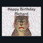 "Happy Birthday Fierce Striped Tiger Red Dots Yard Sign<br><div class=""desc"">This birthday yard sign decoration is white with bright red dots and a fierce looking brown striped tiger outlined in red.  Customize your name and greeting with the template.</div>"