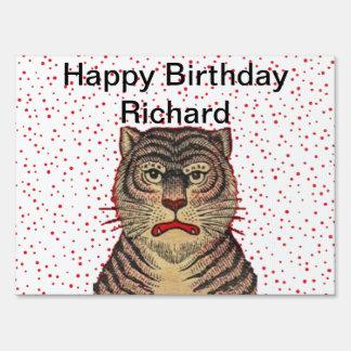 Happy Birthday Fierce Striped Tiger Red Dots Yard Sign