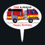 "Happy Birthday Fire And Rescue Cake Topper<br><div class=""desc"">stylish fire truck birthday cake topper</div>"