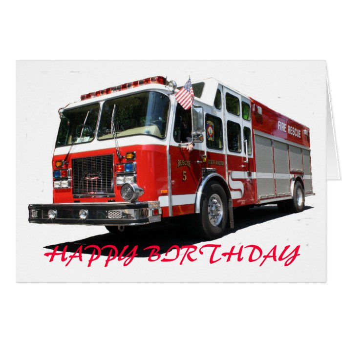 HAPPY BIRTHDAY Fire Truck Greeting Cards On PopScreen
