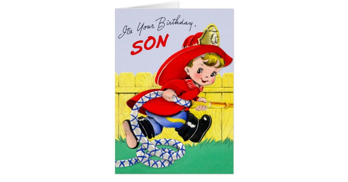 Happy Birthday Firefighter Son Card Zazzle Com