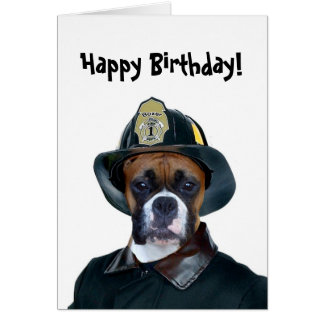 Happy Birthday Fireman boxer greeting card