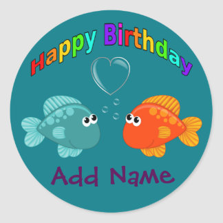 Happy Birthday Fish, Heart, Personalized. Classic Round Sticker