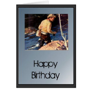 Happy Birthday - fisherman by the river Card