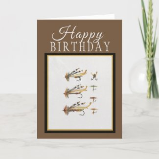 Happy Birthday Fishing Flies Greeting Card