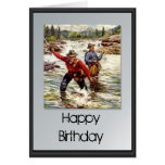 Happy Birthday - Fishing in the river Card