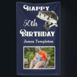 """Happy Birthday Fishing Photo Name Father Men's Banner<br><div class=""""desc"""">Happy Birthday Bass Fishing Banner. Personalize the name and age on this banner and upload the perfect fishing photo to celebrate the person in your life who loves to go fishing.</div>"""