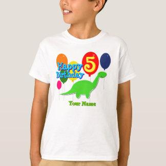 Happy Birthday Five Years Balloons Dino T-Shirt
