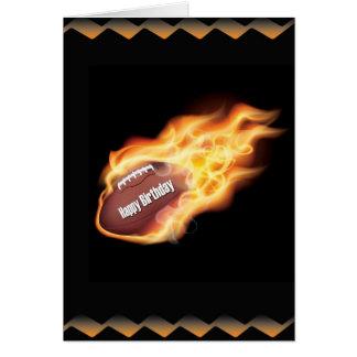 Happy Birthday Flaming Football Card