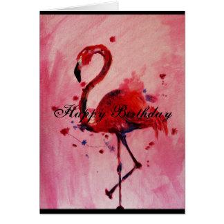Happy Birthday - flamingo Grußkarte/greeting card