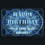 """Happy Birthday Flexible Magnet<br><div class=""""desc"""">Pretty  fractal kalieodoscope with a Happy Birthday greeting and personaliseable to include a name and birthday date</div>"""