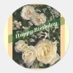 Happy Birthday Floral Classic Round Sticker