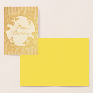 happy birthday Floral Golden Background Foil Card