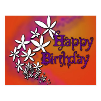 Happy Birthday - Floral - Postcard