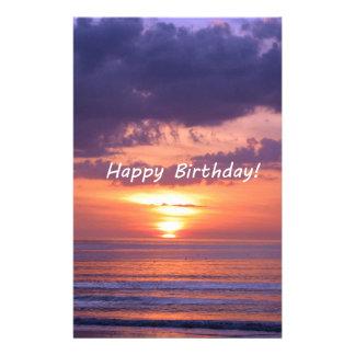 Happy Birthday Florida Beach Sunset Stationery Paper