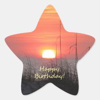 Happy Birthday Florida Sunset Star Sticker