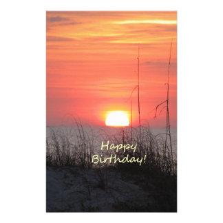 Happy Birthday Florida Sunset Personalized Stationery